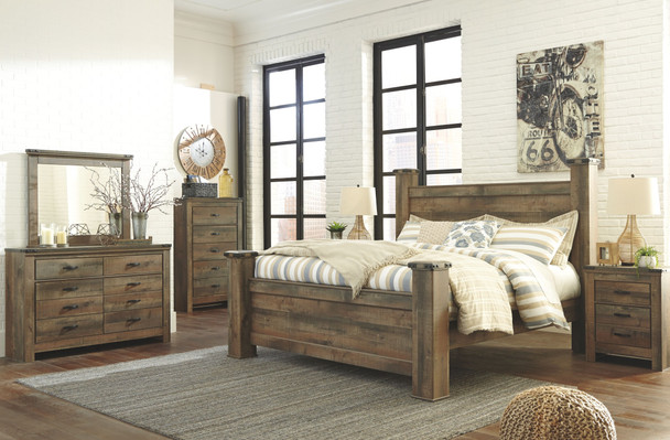 Trinell Brown 9 Pc. Dresser, Mirror, Chest, King Poster Bed & 2 Nightstands