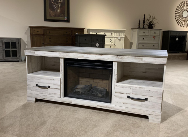 Aspen Two-tone Large TV Stand w/Fireplace Option