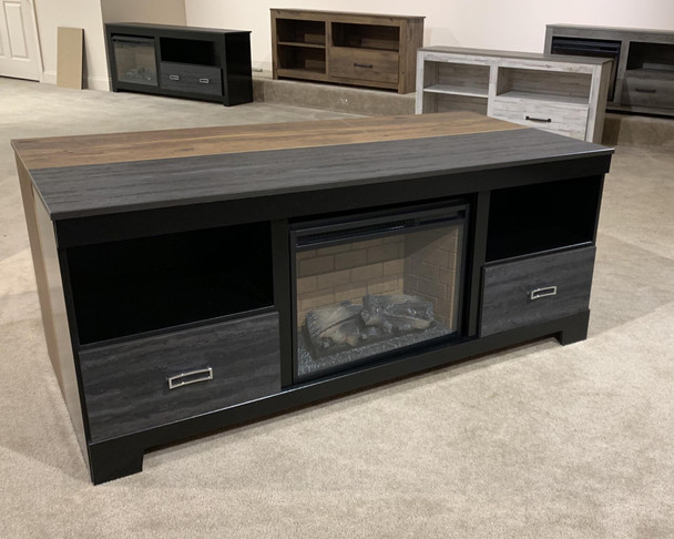 Kaylynn Warm Gray Large TV Stand with Fireplace Option