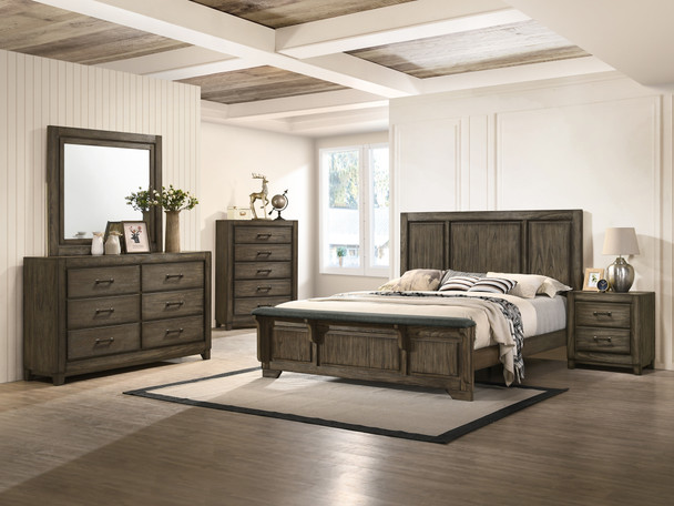 Ashland Rustic Brown 6 Pc. Queen Panel Bed w/Bench Footboard, Dresser, Mirror, Night Stand