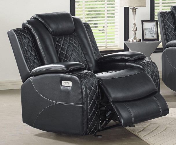 Orion Black Reclining Glider Recliner with Power with ADJ Headrest