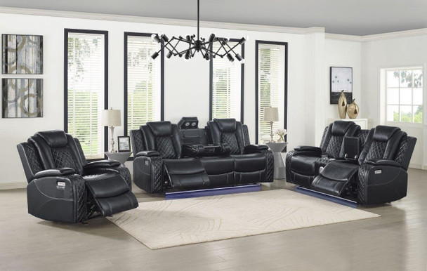 Orion Black Reclining 2 Pc. Sofa & Loveseat with Power with ADJ Headrest