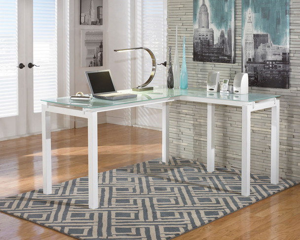 Baraga White L-Desk