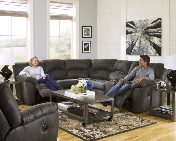 Tambo Pewter 3 Pc. Left Arm Facing/Right Arm Facing Sectional w/ Rocker Recliner