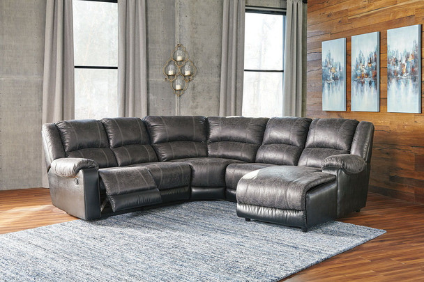 Nantahala Slate LAF Zero Wall Recliner, Armless Recliner, Wedge, Armless Chair & RAF Corner Chaise Sectional