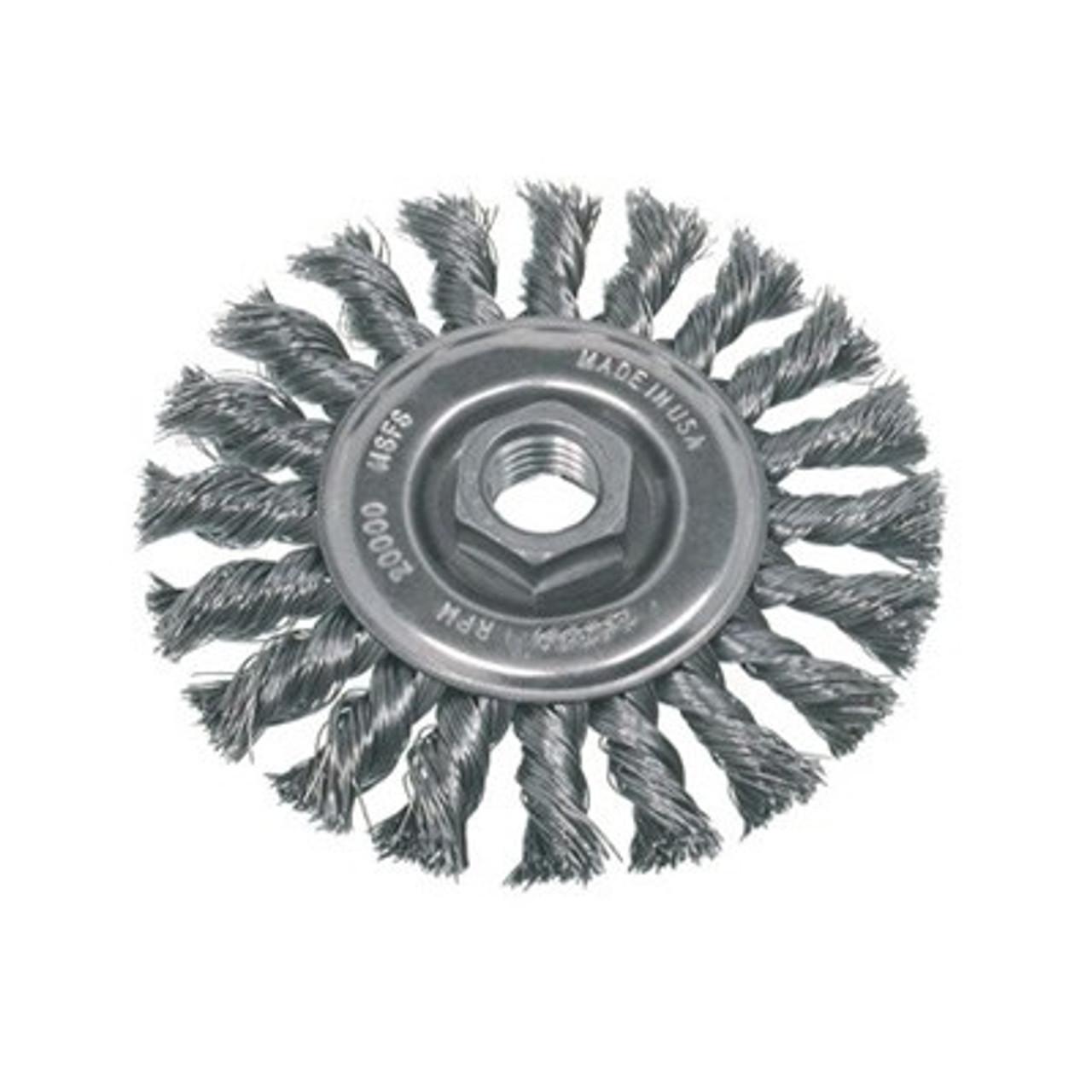 """4/"""" x 5//8-11/"""" Knot Wheel Wire Brush 4 Inch Twist Wire Wheel Stainless Steel"""