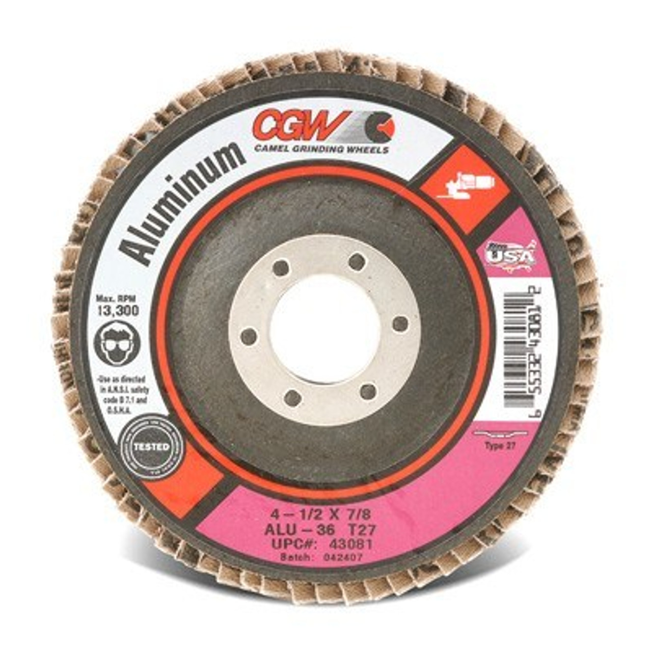 """4.5/"""" x 7//8/"""" BHA 36 Grit Stearate Coated Flap Discs for Aluminum T27 5 Pack"""
