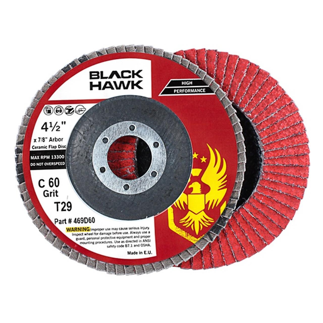 "10 Pack 4.5/"" x 7//8/"" Black Hawk 40 Grit Zirconia Flap Disc Grinding Wheels T29"