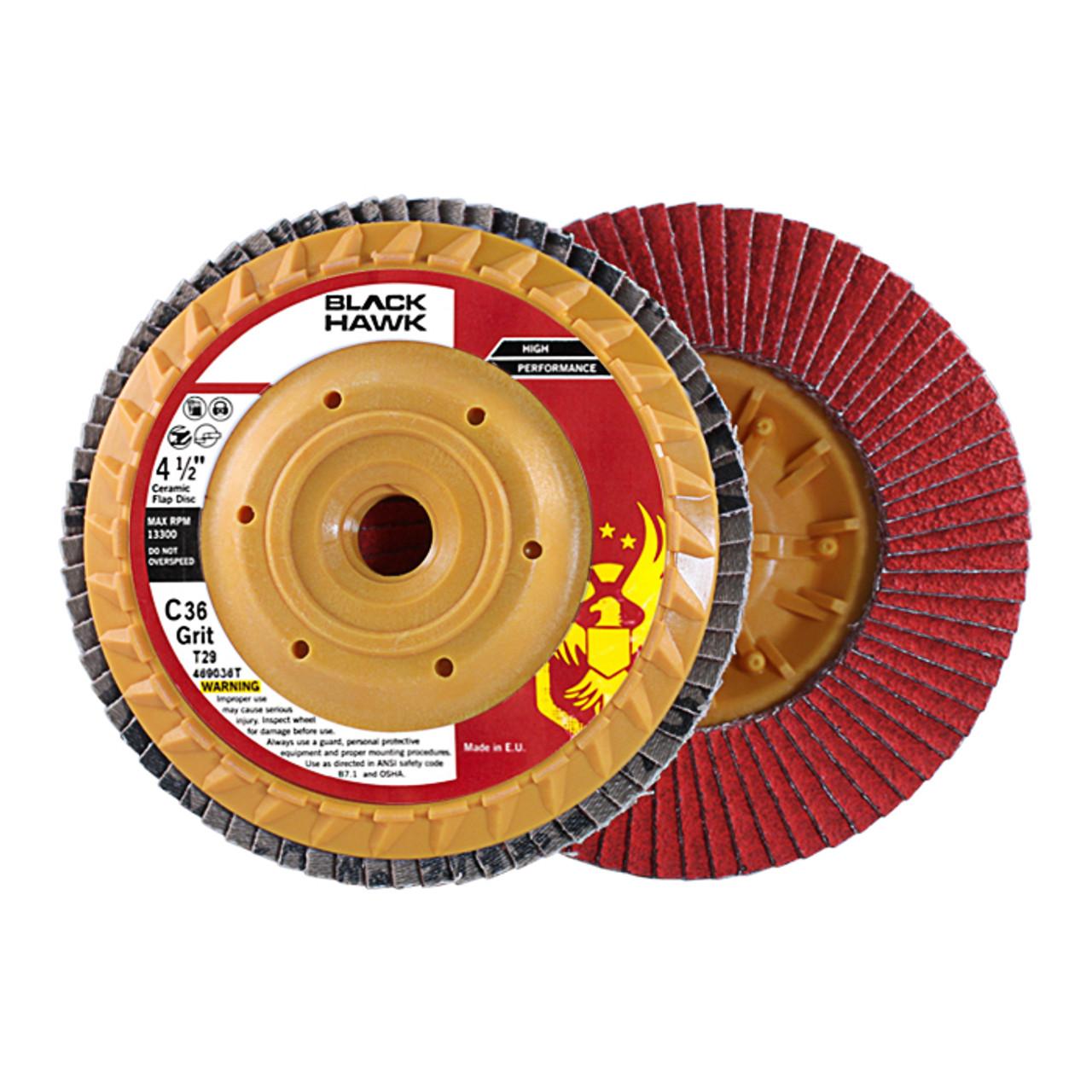 "50 Pack 4.5/"" x 7//8/"" Black Hawk 120 Grit Zirconia Flap Disc Grinding Wheels T29"