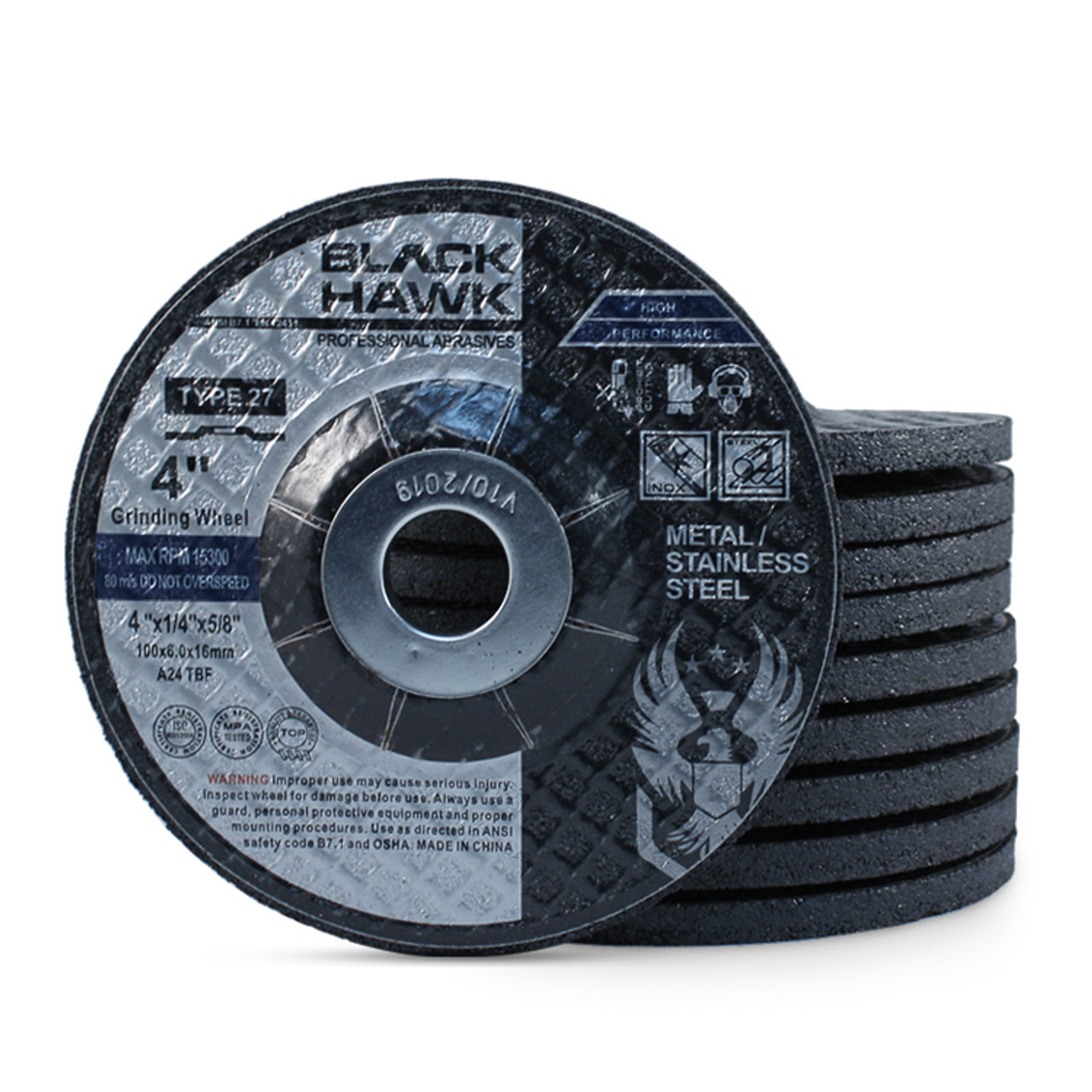 30 Grit 7//8 Arbor 12 Pack 4 1//2 Dia 1//8 Thick Flexible Depressed Center Wheel