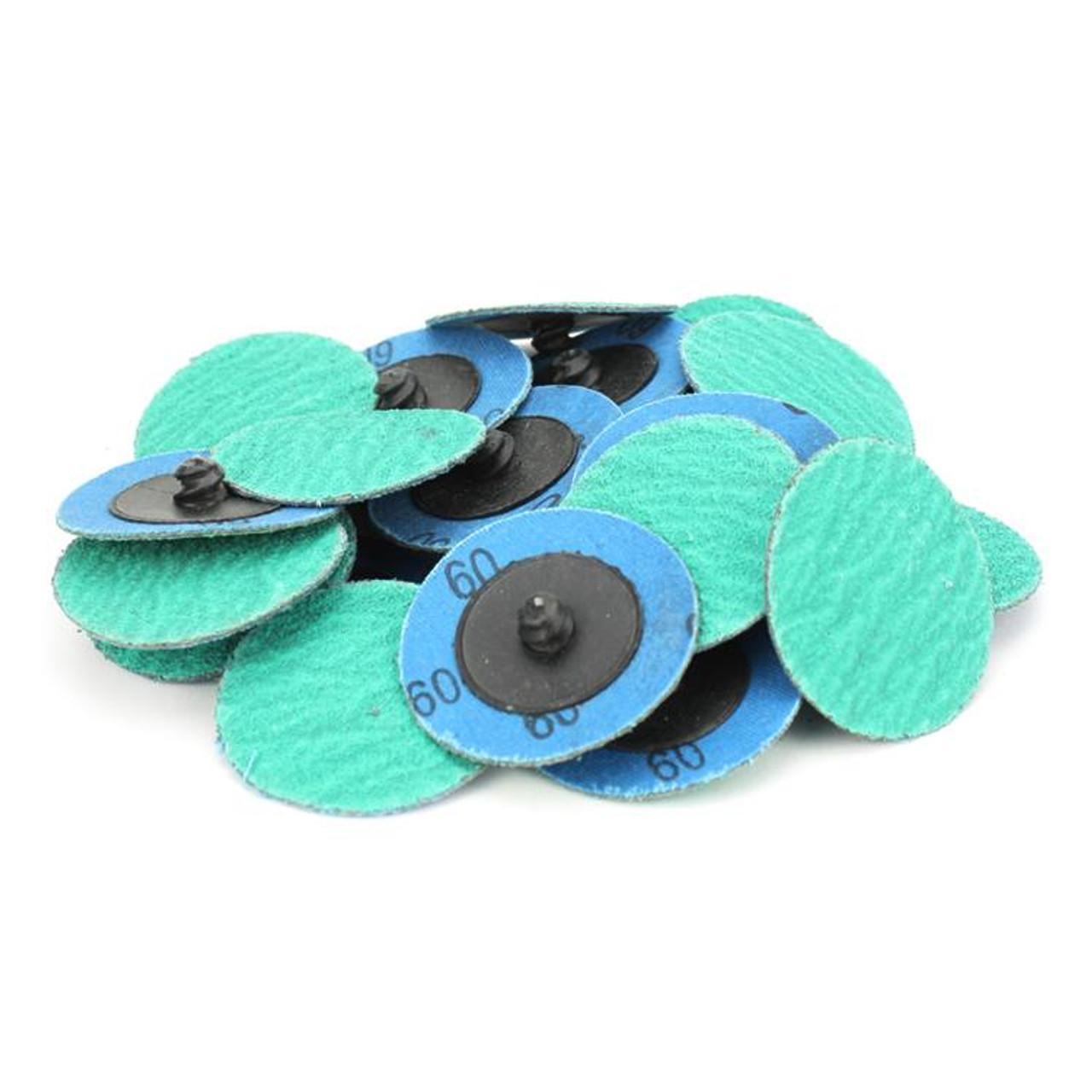 """25 Pack 3/"""" 36 Grit Zirconia+Grind Aid Quick Change Sanding Discs Type R Roloc"""