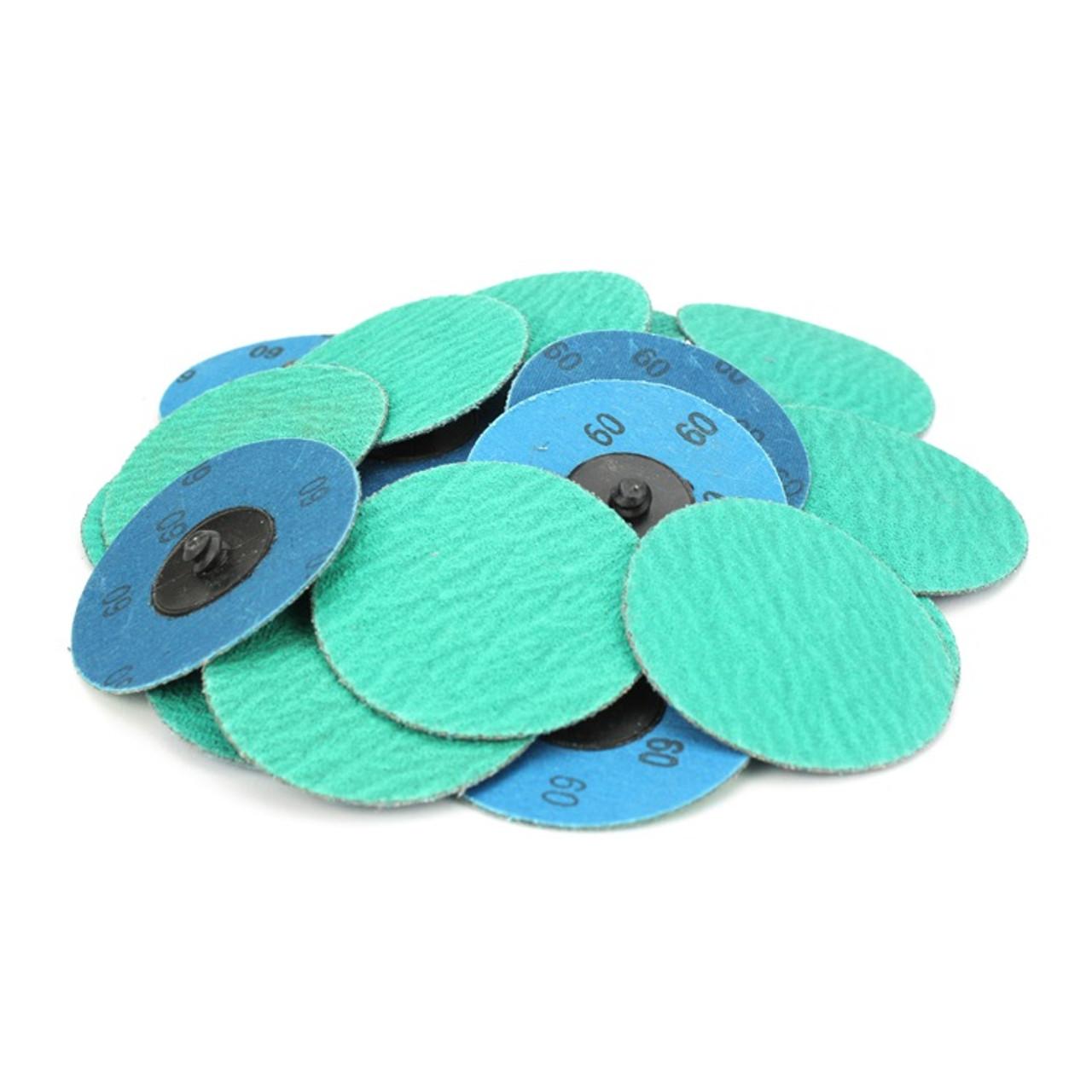 """3/"""" 60 Grit Zirconia+Grind Aid Quick Change Sanding Discs Type R Roloc 100 Pack"""
