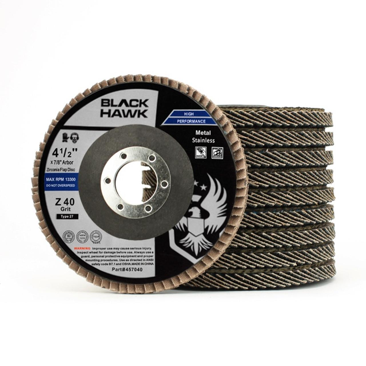 "10 Pack 4.5/"" x 7//8/"" Black Hawk 40 Grit Zirconia Flap Disc Grinding Wheels T27"