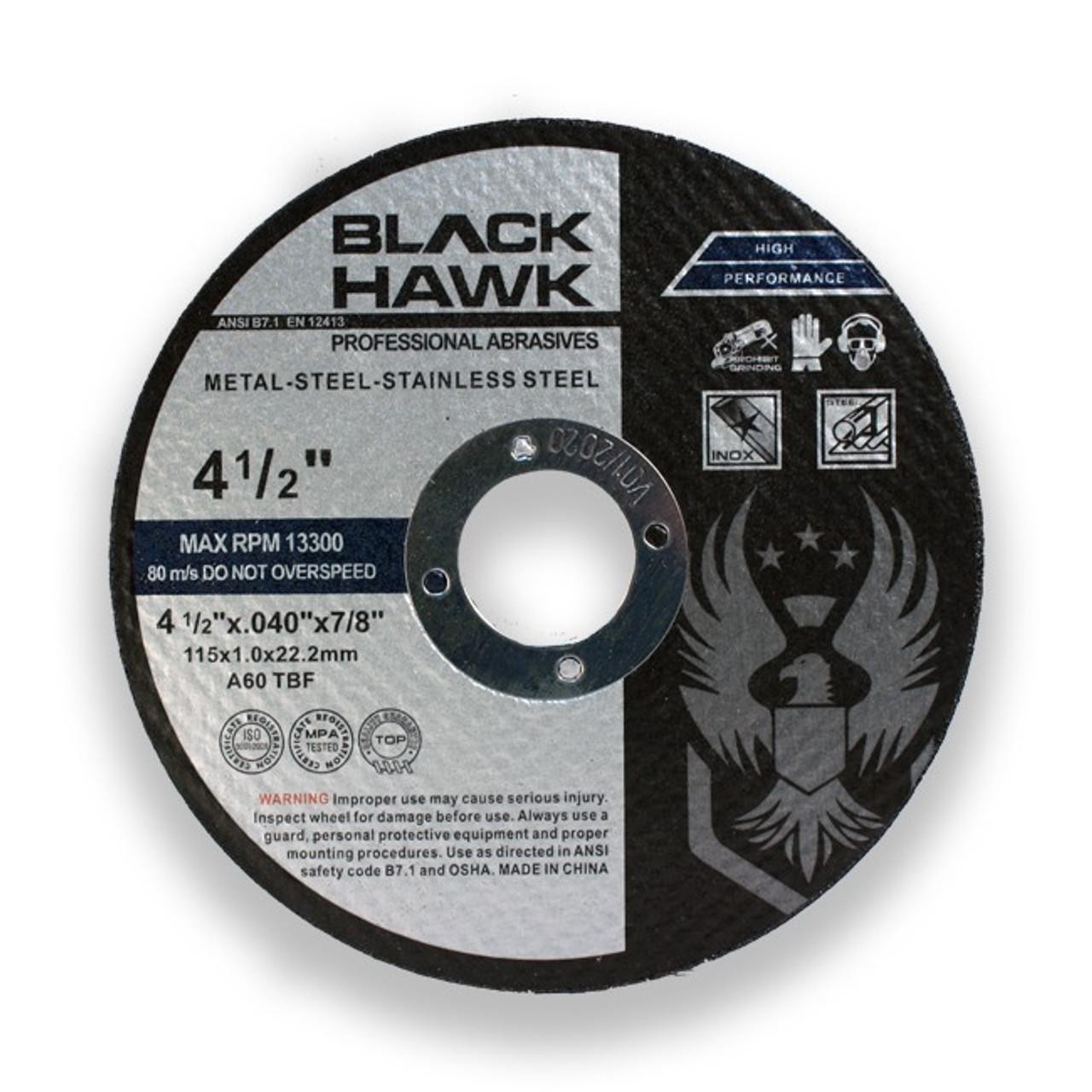 "4/"" x 1//4/"" x 5//8/"" Black Hawk Grinding Wheels T27 Discs for Metal 100 Pack"