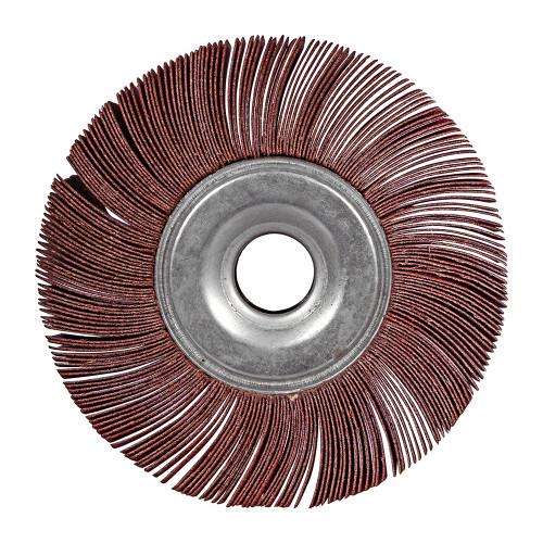 "Aluminum Oxide Flap Wheels x 1//2/"" thick x 1//4/"" arbor hole Fine 4/"" dia"
