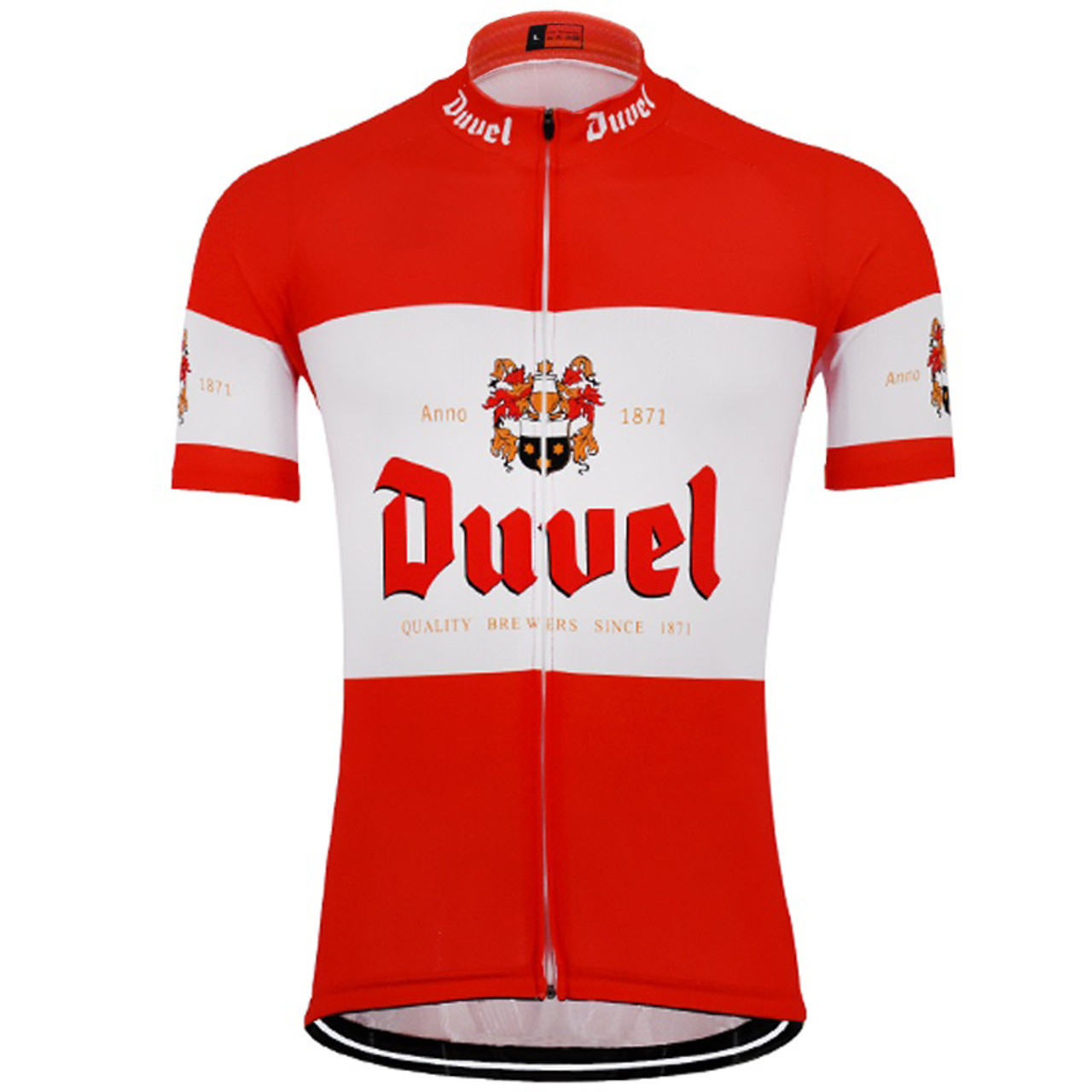 Duvel Beer Retro Cycling Jersey Red White | Freestylecycling com