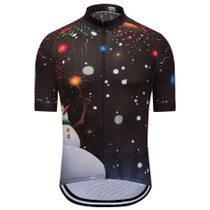 Christmas Snowman Black Cycling Jersey