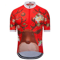 Red Christmas Reindeer Cycling Jersey
