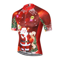 Santa Christmas Tree Red Cycling Jersey