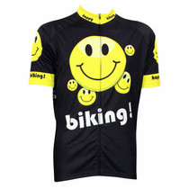 Happy Bike Emoji Yellow Black Cycling Jersey