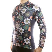 Retro Flowers Men Long Sleeve Thermal Men'sCycling Jersey
