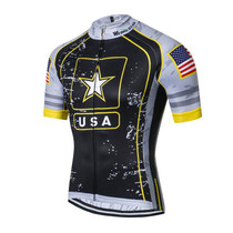 USA Army Team Cycling Jersey Black Gray
