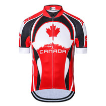 Canada Maple Leaf Cycling Jersey Red White Black 1