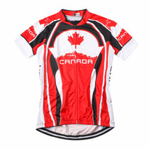 Canada Maple Leaf Cycling Jersey Red White Black 2