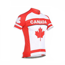 Maple leaf Canada  Flag Cycling Jersey White Red