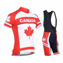 Maple leaf Canada  Flag Men's Cycling Jersey White Red