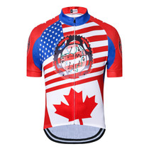 USA Flag Maple leaf Short Sleeve Cycling Jersey