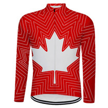 Canada Maple Leaf Long sleeve Cycling Jersey Red