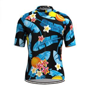 Men's Tropical & Floral Print Hawaiian Cycling Jersey Blue Black