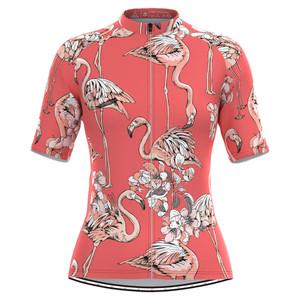 Women's Flamingo Floral Print Hawaiian Cycling Jersey