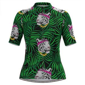 Women's Tiger Tropical Plant Print Hawaiian Cycling Jersey