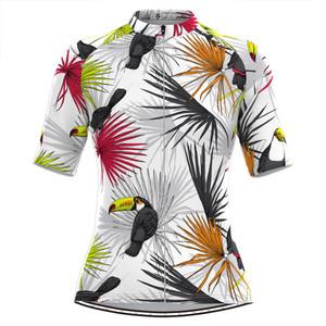 Women's Toucans Tropical Plant Print Hawaiian Cycling Jersey