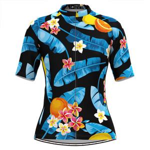 Women's Tropical & Floral Print Hawaiian Cycling Jersey Blue Black