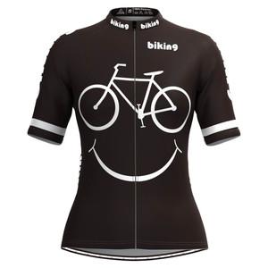 Bicycle Smile Emoji Women's Cycling Jersey Black