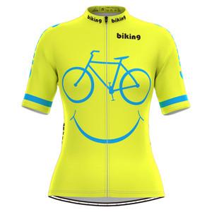 Bicycle Smile Emoji Women's Cycling Jersey Yellow