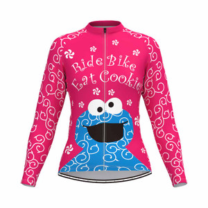 Cookie Monster Women's Long Sleeve Cycling Jersey Pink