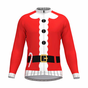 Santa Suit Ugly Christmas Sweater LS Cycling Jersey
