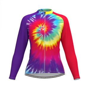 Tie Dye Rainbow Women's Long Sleeve Cycling Jersey