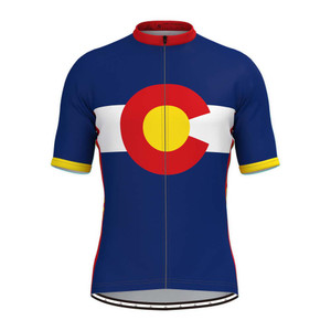 Colorado State Flag Men's Cycling Jersey Red Yellow