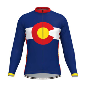 Colorado State Flag Men's LS Cycling Jersey Red Yellow