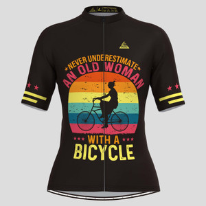 Old Woman With A Bicycle V1 Cycling Jersey