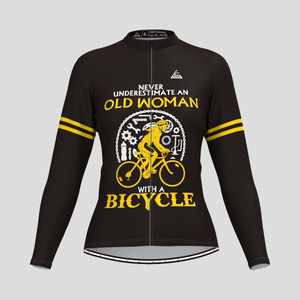 Old Woman With A Bicycle V2 LS Cycling Jersey