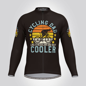 Cycling Dad Cooler Vintage Men's LS Cycling Jersey -Black