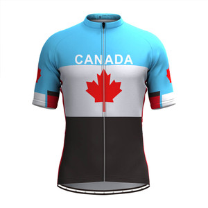 Canada Maple leaf Men's Cycling Jersey Blue White Black