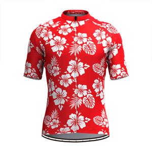 Men Tropical & Floral Print Hawaiian Cycling Jersey Red