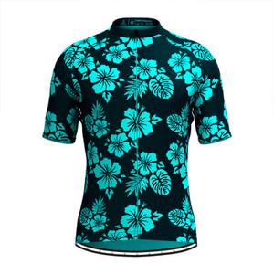 Men Tropical & Floral Print Hawaiian Cycling Jersey Blue